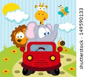 animals by car   vector... | Shutterstock .eps vector #149590133