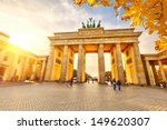 Stock photo brandenburg gate at sunset berlin 149620307