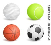 Set Of Four Sport Balls  Vecto...