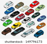 set of various isolated 3d cars | Shutterstock . vector #149796173