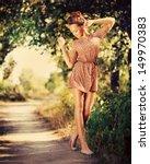 beauty romantic girl outdoor.... | Shutterstock . vector #149970383