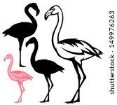 Flamingo Bird Vector Outline...
