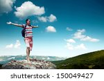 man on the top of mountain | Shutterstock . vector #150049427