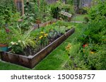 a raised bed filled with herbs... | Shutterstock . vector #150058757