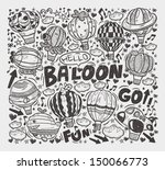 doodle hot air balloon elements | Shutterstock .eps vector #150066773