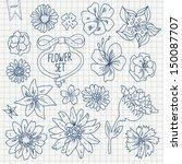 doodle flower set in vector on... | Shutterstock .eps vector #150087707