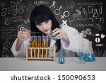 young female scientist is... | Shutterstock . vector #150090653