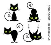 Stock vector black cat with green eyes vector illustration 150104837