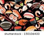 sushi seamless pattern | Shutterstock .eps vector #150106433