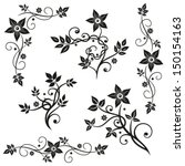 Stock vector black flowers and leaves with ornaments vector set 150154163