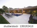 sunloungers along the pool...   Shutterstock . vector #150192413