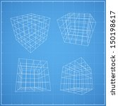 wireframe of cubic box space  ...   Shutterstock .eps vector #150198617