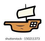 old ship minimal illustration   Shutterstock .eps vector #150211373