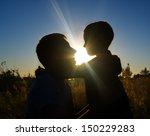 silhouette father and son at... | Shutterstock . vector #150229283