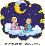 boy and girl on the background... | Shutterstock .eps vector #150284447