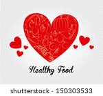healthy food over dotted... | Shutterstock .eps vector #150303533