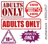 Set grunge rubber stamps with text adults only inside,vector illustration