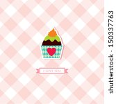 i love you cupcake card   Shutterstock .eps vector #150337763