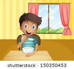 Illustration Of A Boy Eating...