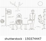 hand drawing of bus stop in the ... | Shutterstock .eps vector #150374447