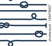 Navy rope and marine knots striped seamless pattern in blue and white, vector - stock vector