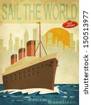Sail The World   Vintage Poste...