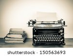 vintage typewriter  old books... | Shutterstock . vector #150563693
