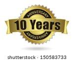 """10 Years Anniversary"" - Retro Golden Ribbon, EPS 10 vector illustration - stock vector"