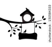 Birds And Birdhouses Silhouett...