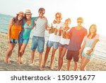 multiethnic group of friends at ... | Shutterstock . vector #150591677