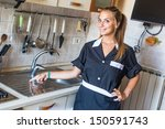 happy housemaid with clean... | Shutterstock . vector #150591743