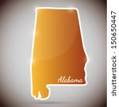 vintage sticker in form of Alabama state, USA