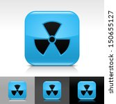 radiation icon set. blue color...
