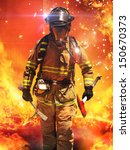 firefighter searches for... | Shutterstock . vector #150670373