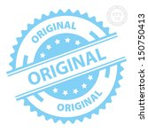 EPS10 Vector : Original Rubber Stamp with Blue color (Sticker, Tag, Icon, Symbol)