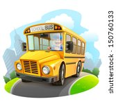 funny school bus illustration | Shutterstock .eps vector #150760133