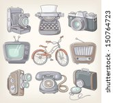 set of vintage items icons   Shutterstock .eps vector #150764723