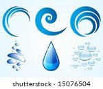 Vector logo elements, water drops, bubbles and waves