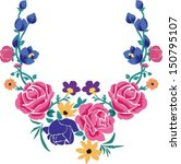 embroidery floral pattern for neck deco design