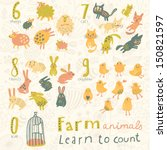 farm animals. learn to count ... | Shutterstock .eps vector #150821597