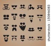 mustaches  beard and sunglasses ... | Shutterstock .eps vector #150846083