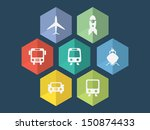 flat design transport icons in... | Shutterstock .eps vector #150874433