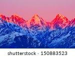 Sunset On Three Mountain Peaks...