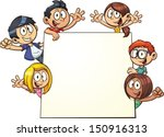 cartoon kids holding a sign.... | Shutterstock .eps vector #150916313
