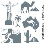 sights  china  mexico  brazil ... | Shutterstock .eps vector #150917657
