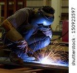 welding steel structure in... | Shutterstock . vector #150923597