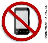 3d vector of no cell phone sign ...   Shutterstock .eps vector #150957437