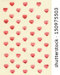 watercolor hearts on tinted... | Shutterstock . vector #150975503