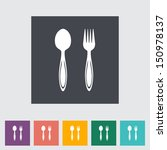spoon  fork. single flat icon.... | Shutterstock .eps vector #150978137