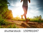 young lady running on a rural... | Shutterstock . vector #150981047